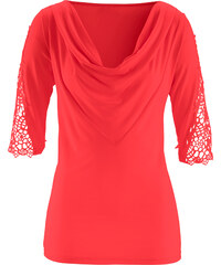 bpc selection T-shirt dentelle rouge manches 3/4 femme - bonprix