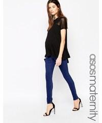 ASOS Maternity - Sculpt Me - Premium-Leggings in sattem Blau - Blau