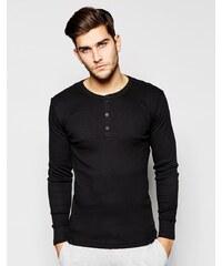 Levis Levi's - T-shirt manches longues moulant à col boutonné - Noir