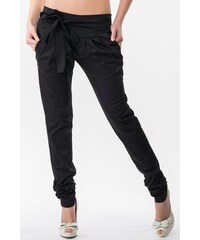 Sixie Sixie dámské černé bavlněné kalhoty s mašlí , Velikost S