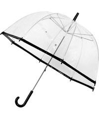 Průhledný deštník s černým lemem Lindy Lou SlimTrim