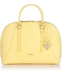 Guess Kožená kabelka Lady Luxe Leather Dome Sacthel Bag žlutá