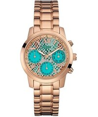 Guess Hodinky Turquoise and Rose Gold-Tone Feminine Classic Sport Watch