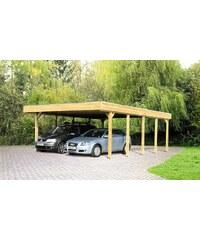 SKANHOLZ Set: Doppelcarport »Friesland«, mit Abstellraum und Aluminium-Dachplatten