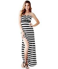 Guess Šaty Strapless Applique Maxi Dress