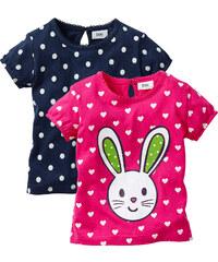 bpc bonprix collection Lot de 2 T-shirts bébé en coton bio fuchsia manches courtes enfant - bonprix
