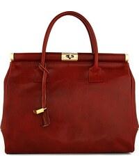 Kožená kabelka Borse Gianni 110 červená