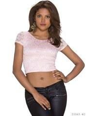 Krajkové dámské tričko Italia Fashion - světle růžové