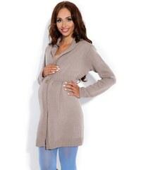 Těhotenský pletený kabátek Fobya F131 hnědý