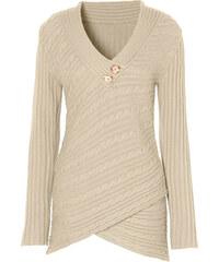 BODYFLIRT boutique Pull beige manches longues Près du corps femme - bonprix