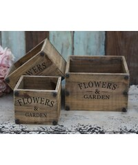 Chic Antique Dřevěný box Flowers Velikost S