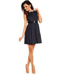Módní puntíkované šaty s páskem - tmavěmodré