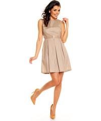 Módní puntíkované šaty s páskem - mocca