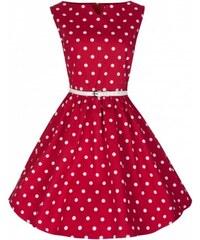 Lindy Bop Šaty Lindy Bop červené s bílým puntíkem