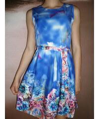 00* Květované letní modré šaty s páskem