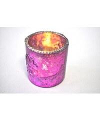Skleněný svícen - Powder pink JOWAFU