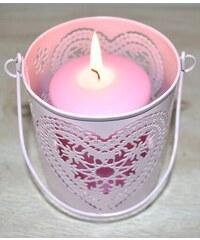 Svícen - Růžové srdce S JOPINBS