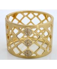 Široký zlatý náramek s křišťálovými prvky NAVBRA15