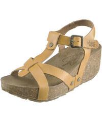 Kožené sandály na korkovém klínu FLY London Corka Cola P143416002