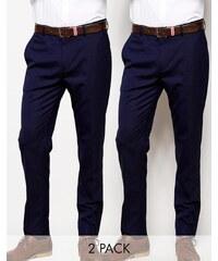 ASOS - Lot de 2 pantalons pantalons habillés skinny basiques - Bleu marine