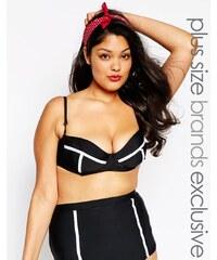Big Guns for ASOS - Top de bikini bustier contrastant - Noir