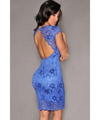 001 Společenské krajkové šaty BLUE