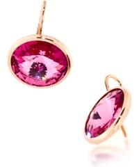 LYRA Náušnice s růžovými Swarovski krystaly EDV10065P