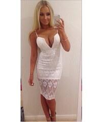 001 Bílé letní krajkové šaty s výstřihem