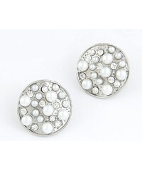 BAGISIMO Kulaté stříbrné náušnice s perlami