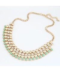 BAGISIMO Zlatý náhrdelník se zelenými a stříbrnými kamínky