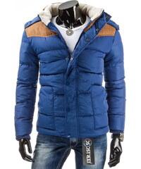 streetIN Prošívaná zimní bunda s kožešinkovým límcem a kapucí - modrá Velikost: M