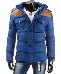 streetIN Zimní bunda s hnědými detaily - modrá Velikost: M