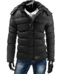 streetIN Jednobarevná prošitá zimní bunda - černý melír Velikost: M