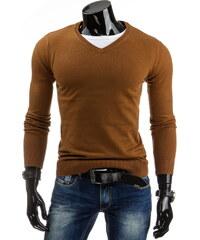 streetIN Hnědý pánský svetr s výstřihem do V Velikost: XL