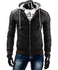 streetIN Prošívaná bunda s šedými detaily a úpletovou kapucí - černá Velikost: M
