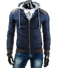 streetIN Prošívaná bunda s šedými detaily a úpletovou kapucí - modrá Velikost: XL