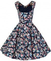 Lindy Bop retro šaty Ophelia námořnicky modré s květy velikosti: 36