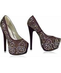 LS fashion LS dámské lodičky na platformě a jehlovém podpatku 00117 fialové Velikost: EUR 36