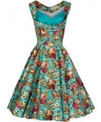 Lindy Bop retro šaty Ophelia TURQ FLORAL velikosti: 36