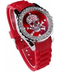 LS Fashion Stylové hodinky s lebkou vykládané kamínky LSW004 červené