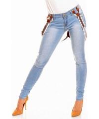 JustF Stylové džíny s kšandami světle modré