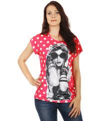 TopMode Pohodlné tričko s výrazným potiskem růžová