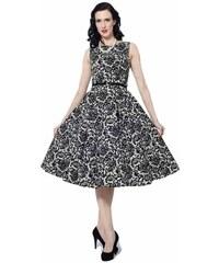 LADY VINTAGE Dámské šaty Hepburn Dokonalá krajka s páskem