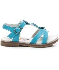 AMERICAN CLUB Módní modré sandálky s květinkami