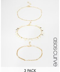 ASOS CURVE - Lot de 3 bracelets de cheville fins - Doré