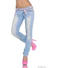 Moderní dámské roztrhané džíny Simply Chic - světle modré