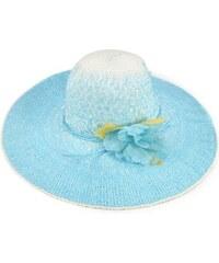 Letní klobouk s květinou, dámské klobouky INTRIGUE modrá