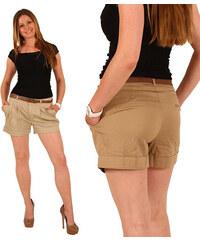 Lesara Damen-Chino-Shorts mit Gürtel - Beige - S