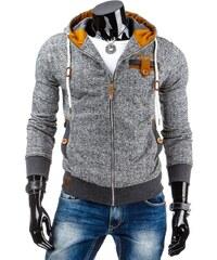 streetIN Pánská mikina s kapucí, zipem a kapsami na knoflík – kropenatě šedá Velikost: S