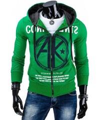 streetIN Pánská mikina s kapucí, kapsami a zipem CONFIDENTS – zelená Velikost: M